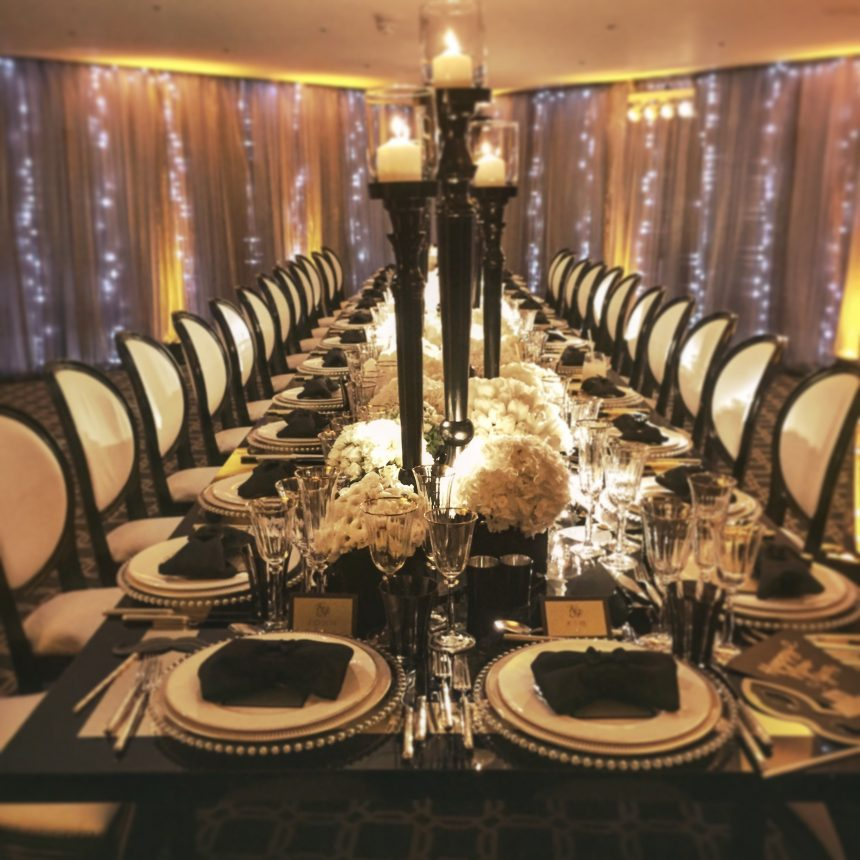 Black and White Dinner Setting at Claridges