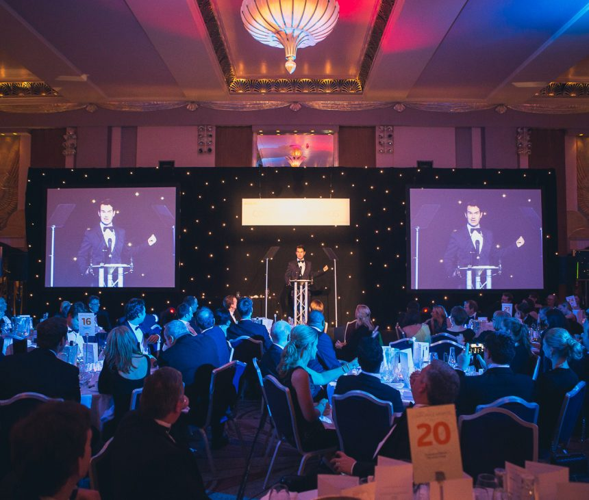 TV Personality, Jimmy Carr, Presenting at The Sheraton Park Lane